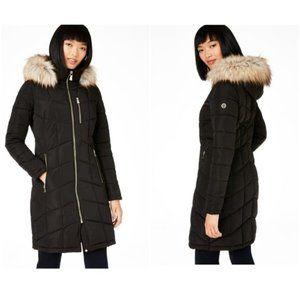 CALVIN KLEIN Hooded Faux-Fur-Trim Puffer Coat NWOT